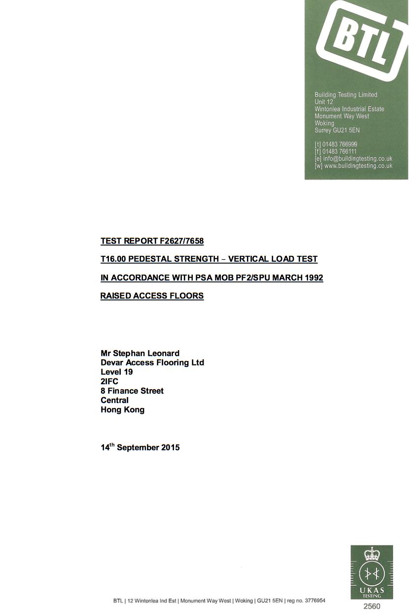 BTL Certificate Devar 1200mm Heavy Grade Raised Access Floor Pedestal
