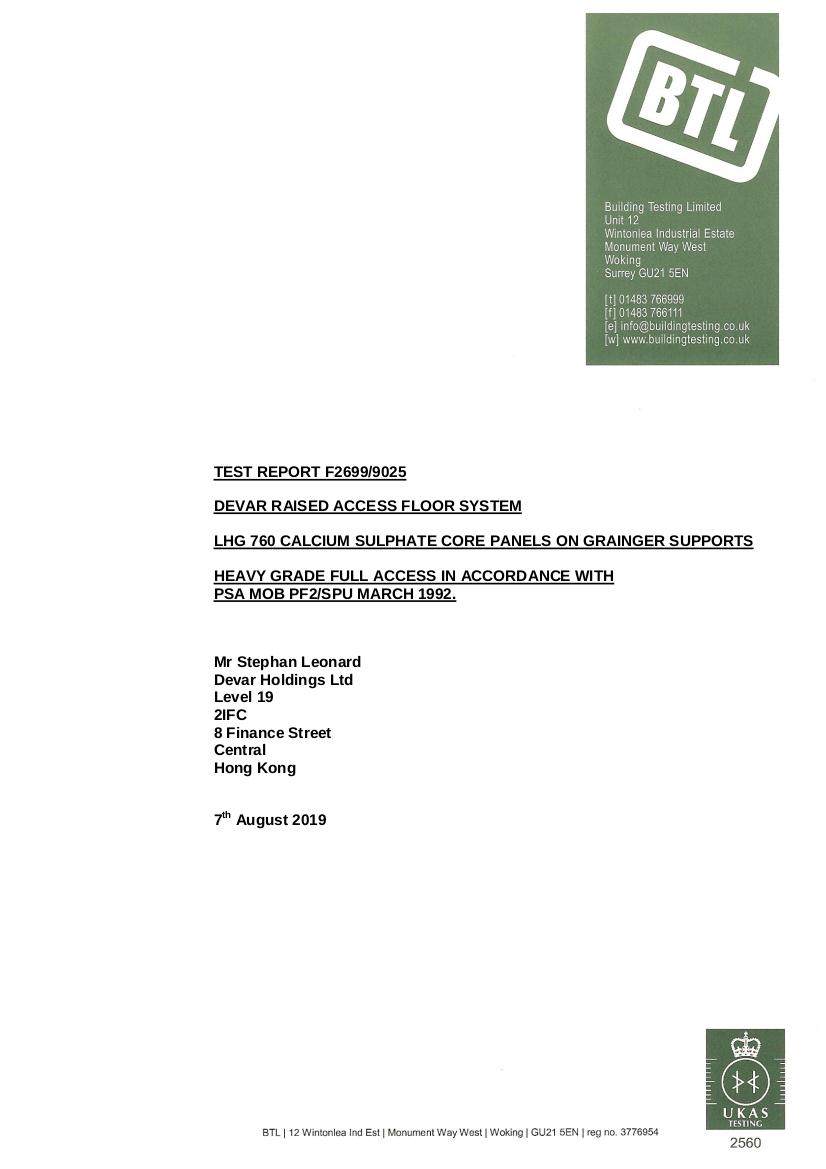 BTL-Certificate for Devar LHG760 Corner Lock Raised Access Floor System