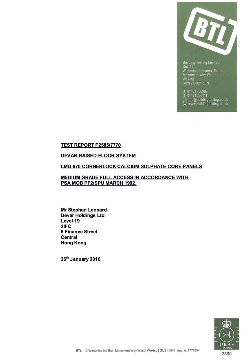 BTL Certificate for Devar LMG670 Raised Access Floor System
