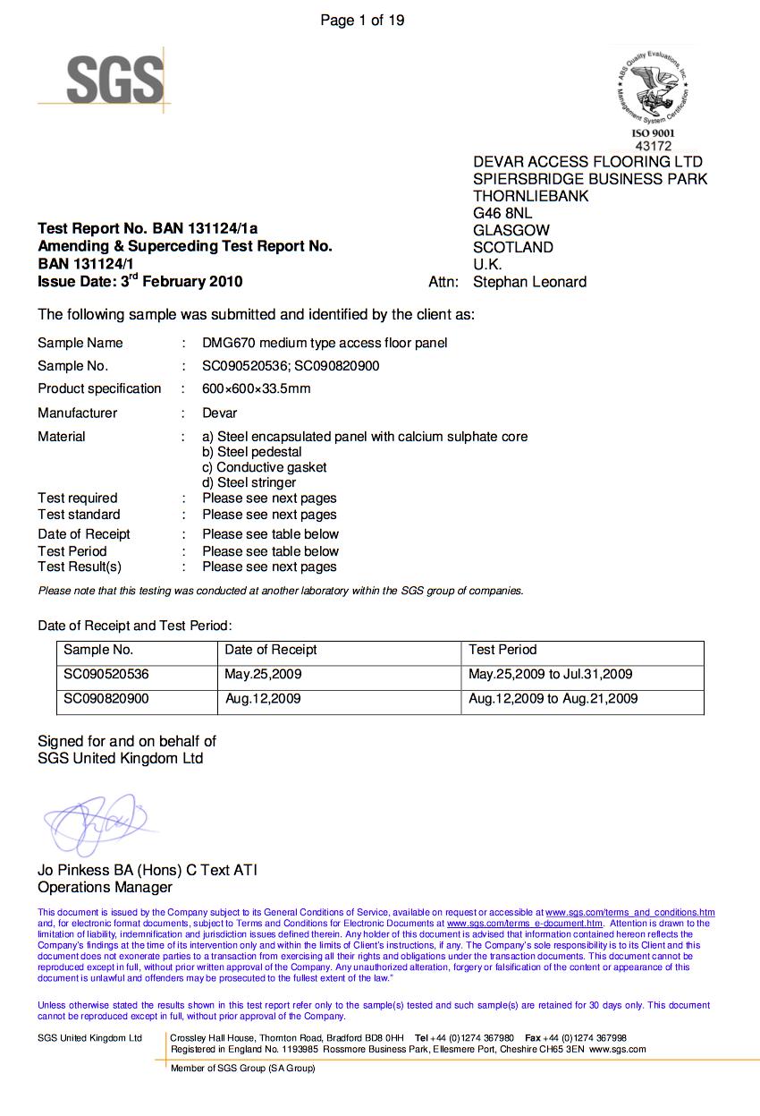 BTL Certificate for Devar DMG670 Raised Access Floor System