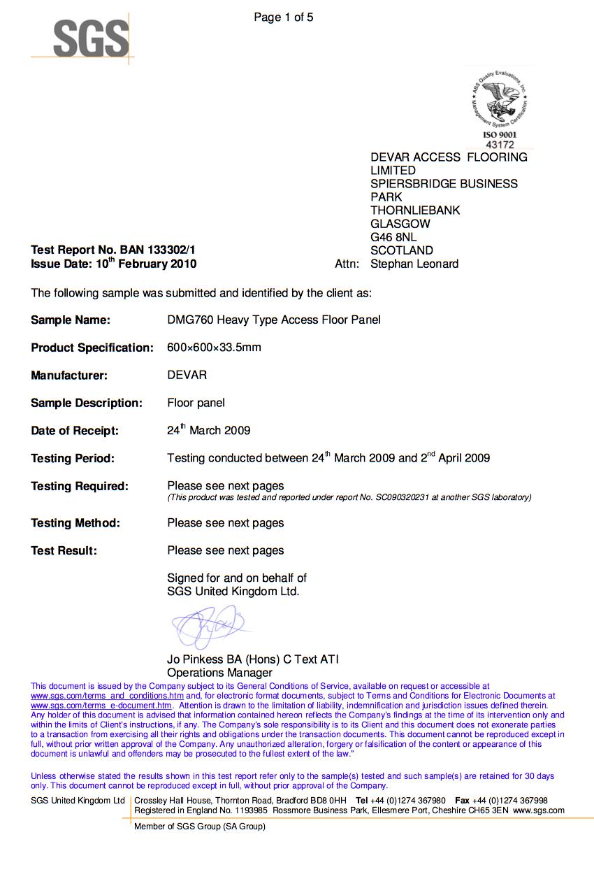 SGS-Certificate for Devar DMG760 Heavy Raised Access Floor Panel
