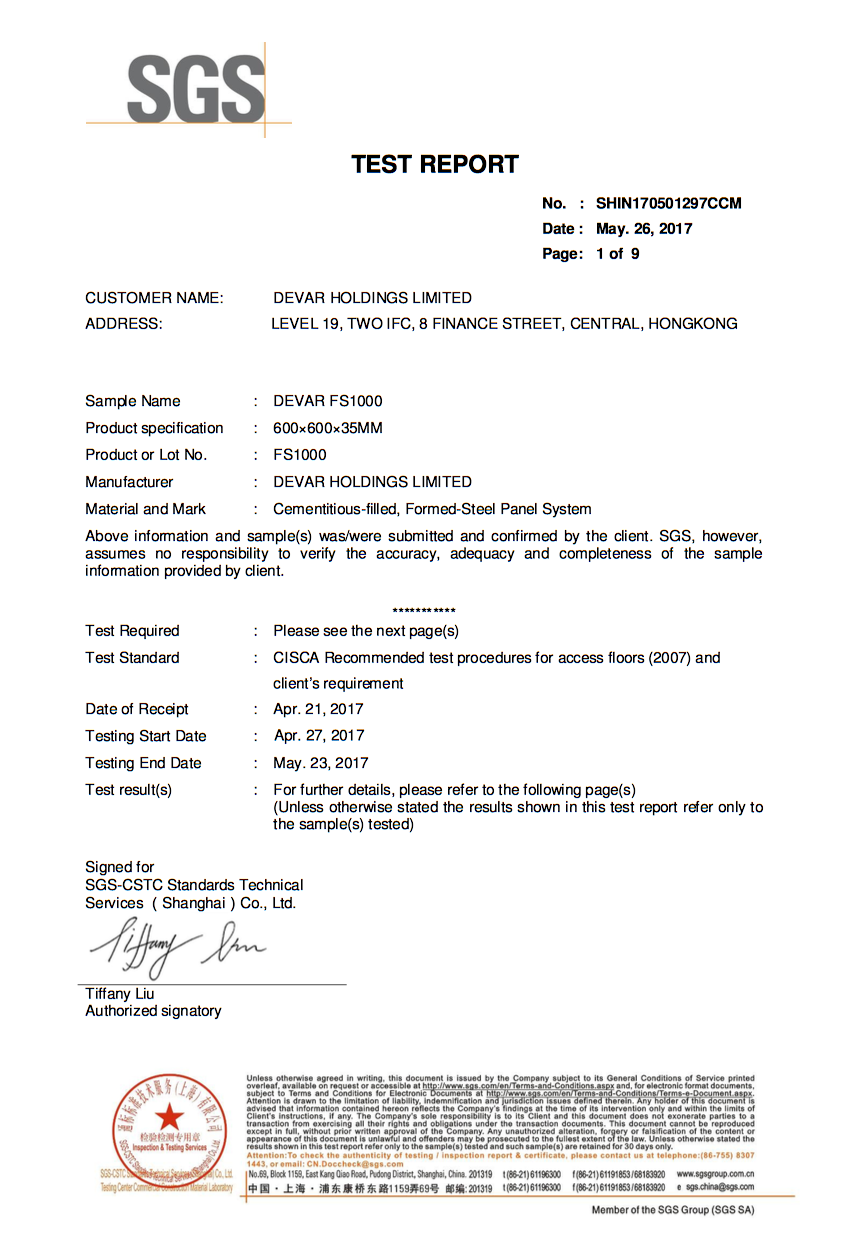 SGS Certificate for Devar FS1000 Raised Access Floor Panel