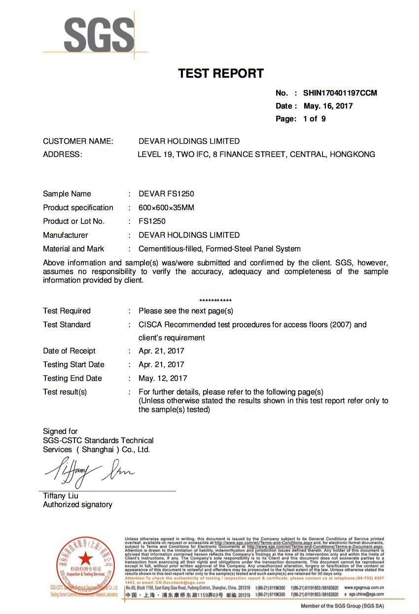 SGS Certificate for Devar FS1250 Raised Access Floor Panel
