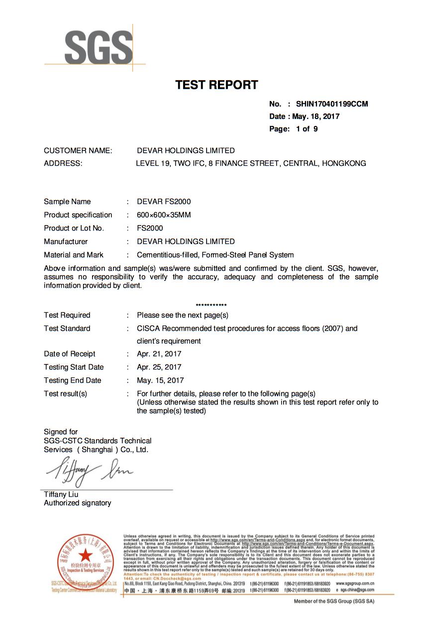 SGS Certificate for Devar FS2000 Raised Access Floor Panel