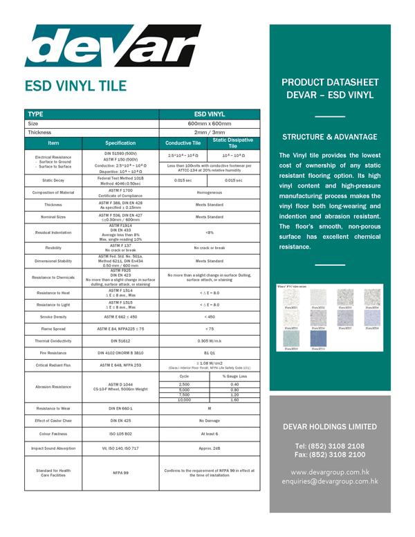 Devar ESD Vinyl Tile Data Sheet