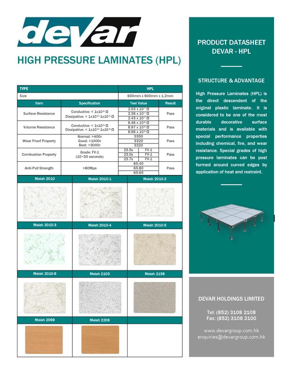 Devar HPL High Pressure Laminates Data Sheet