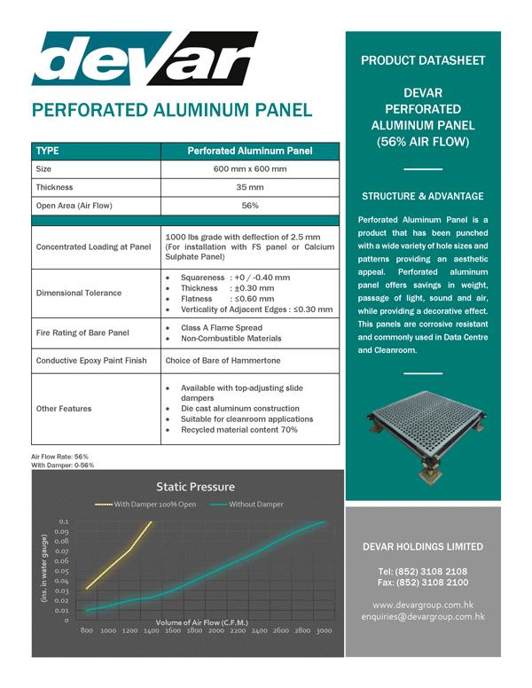 Devar Perforated Aluminium Panel 56 percent Data Sheet