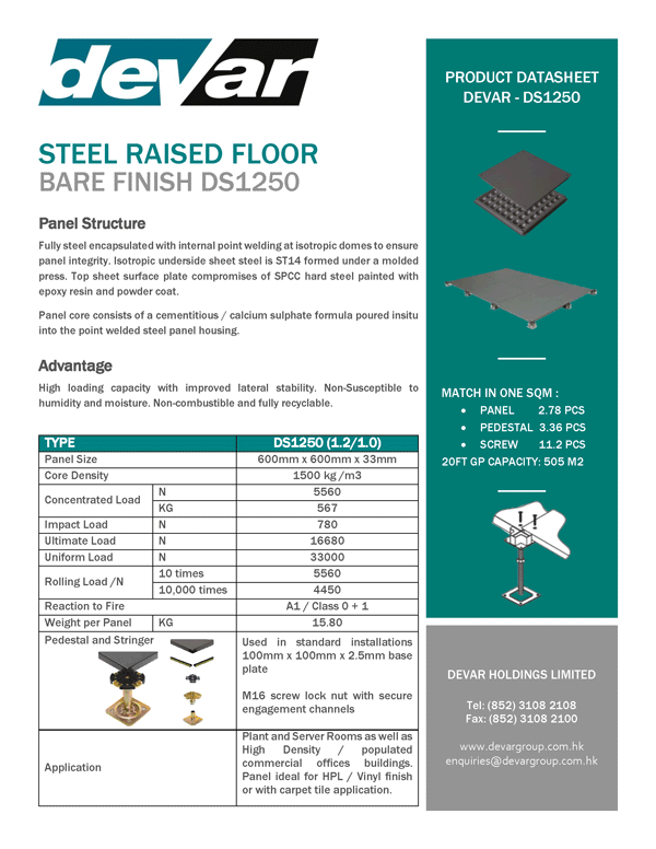 Devar Steel Raised Floor Bare Finish DS1250 Data Sheet