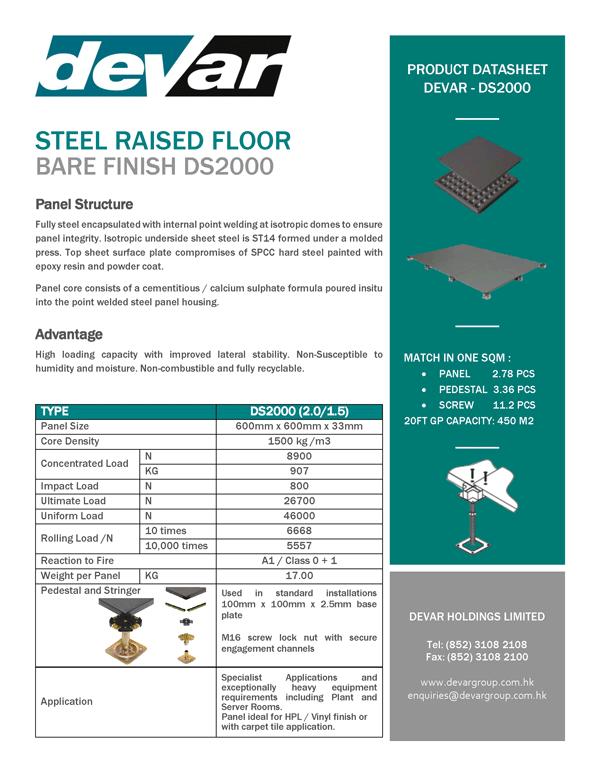 Devar Steel Raised Floor Bare Finish D2000 Data Sheet