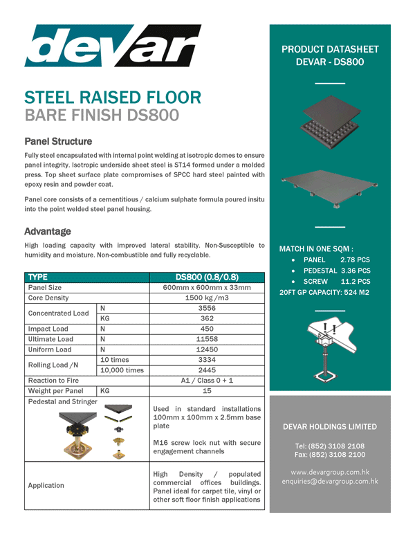 Devar Steel Raised Floor Bare Finish DS800 Data Sheet