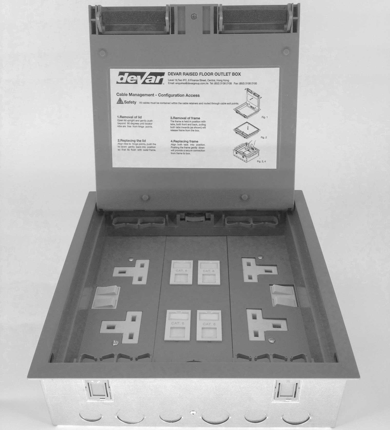 Raised Floor Outlet Box Devar 1