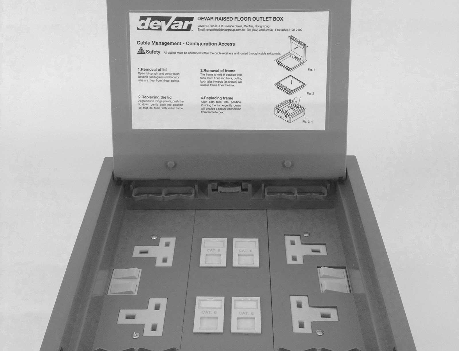 Raised Floor Outlet Box Devar 2