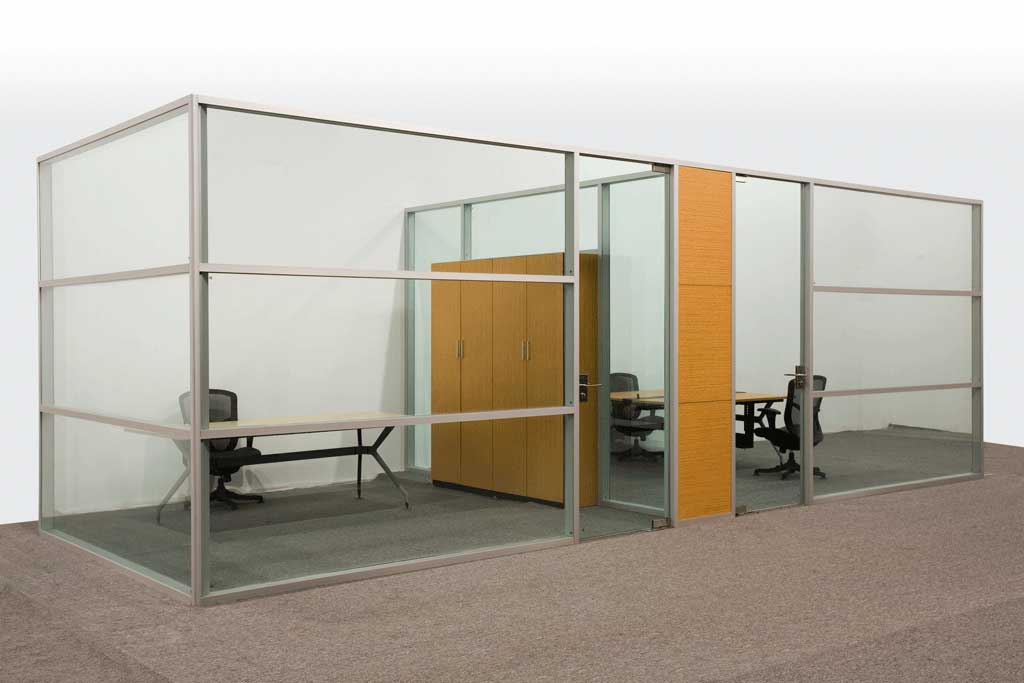 Office Partitions Double Glass Type C